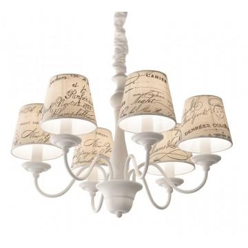 Подвесная люстра Ideal Lux COFFEE SP6 092720, 6xE14x40W, белый, бежевый, металл, дерево, текстиль