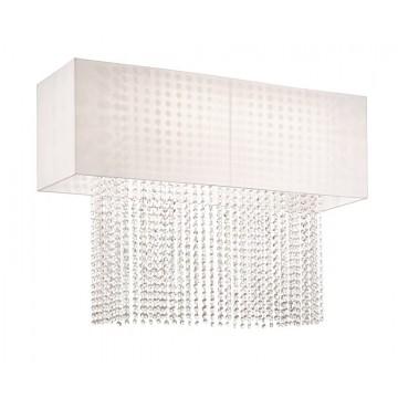 Потолочная люстра Ideal Lux PHOENIX PL5 BIANCO 099118, 5xE27x60W, хром, белый, прозрачный, металл, текстиль, хрусталь