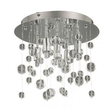 Люстра-каскад Ideal Lux NEVE PL5 CROMO 094687, 5xG9x40W, хром, прозрачный, металл, стекло