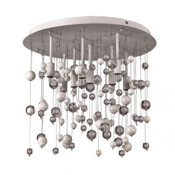 Люстра-каскад Ideal Lux NEVE PL8 BIANCO 101170, 8xG9x40W, белый, прозрачный, металл, стекло