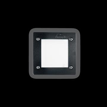 Встраиваемый настенный светильник Ideal Lux LETI PT1 SQUARE NERO 096582, IP66, 1xGX53x3W, белый, черный, пластик