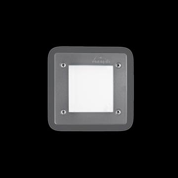Встраиваемый настенный светильник Ideal Lux LETI PT1 SQUARE GRIGIO 096599, IP66, 1xGX53x3W, белый, серый, пластик