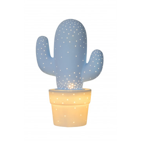 Настольная лампа Lucide Cactus 13513/01/68, 1xE14x40W, голубой, керамика