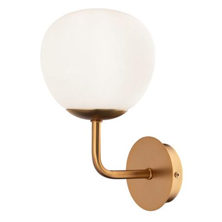 Бра Maytoni Erich MOD221-WL-01-G, 1xE14x40W, латунь, белый, металл, стекло