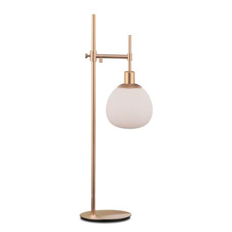 Настольная лампа Maytoni Erich MOD221-TL-01-G, 1xE14x40W, латунь, белый, металл, стекло