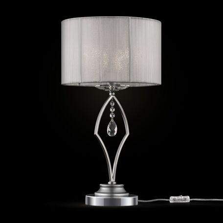 Настольная лампа Maytoni Miraggio MOD602-TL-01-N, 1xE14x40W, хром, белый, прозрачный, металл со стеклом, текстиль, стекло