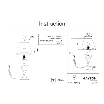 Схема с размерами Maytoni MOD981-TL-01-B