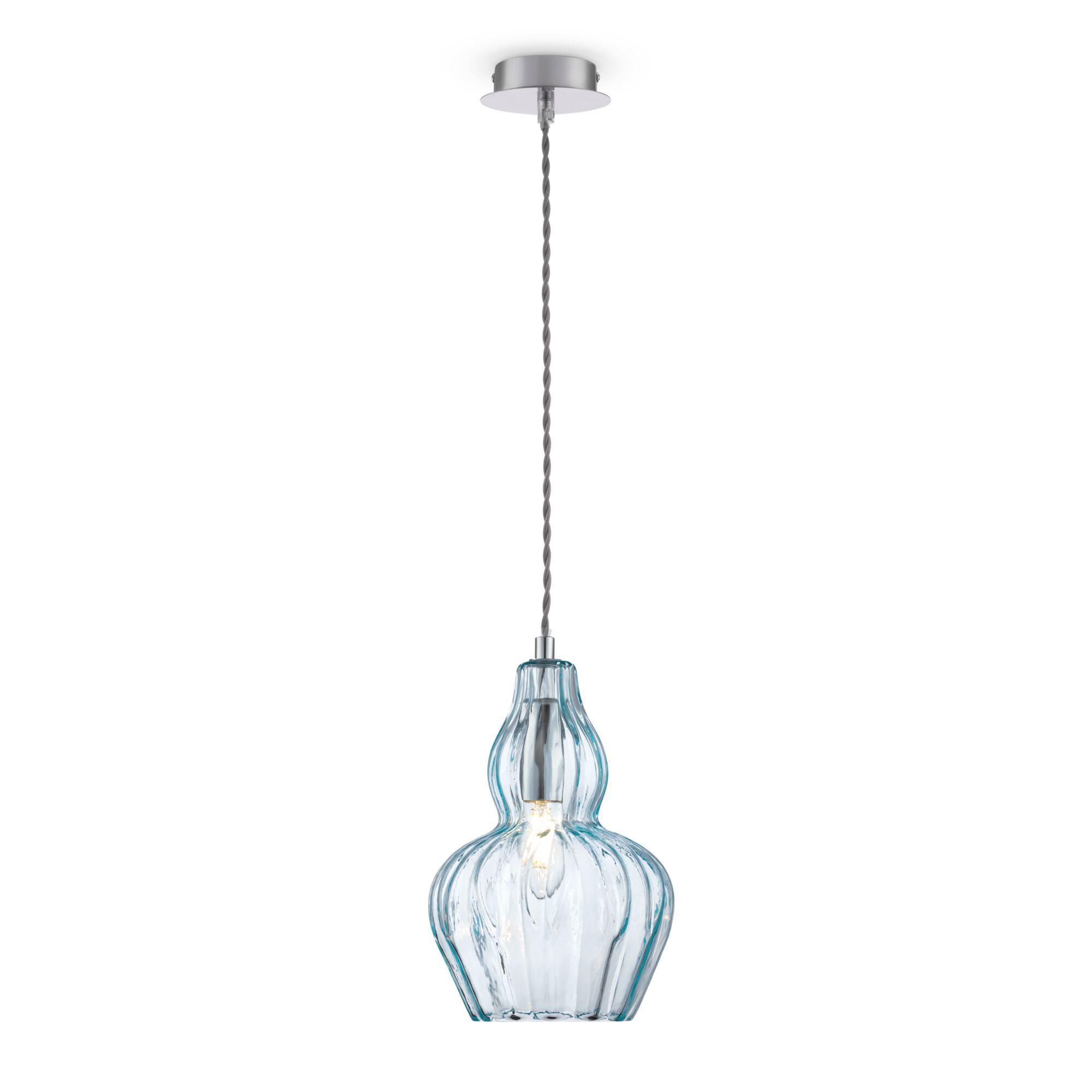 Подвесной светильник Maytoni Eustoma MOD238-PL-01-BL, 1xE14x40W, никель, голубой, металл, стекло - фото 1