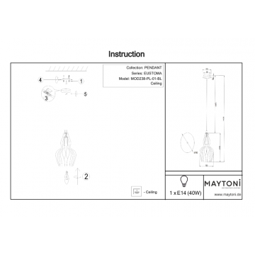 Схема с размерами Maytoni MOD238-PL-01-BL