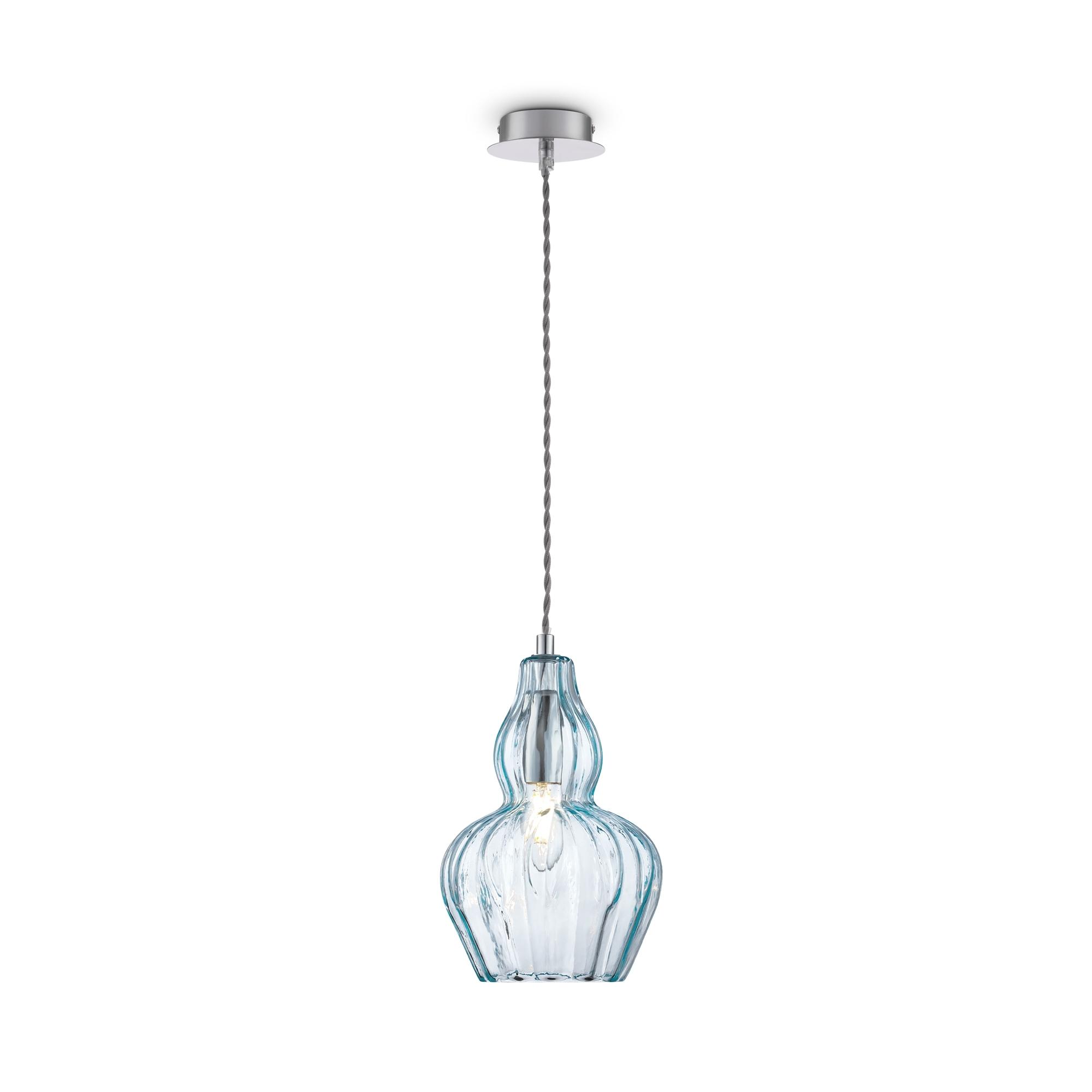 Подвесной светильник Maytoni Eustoma MOD238-PL-01-BL, 1xE14x40W, никель, голубой, металл, стекло - фото 2