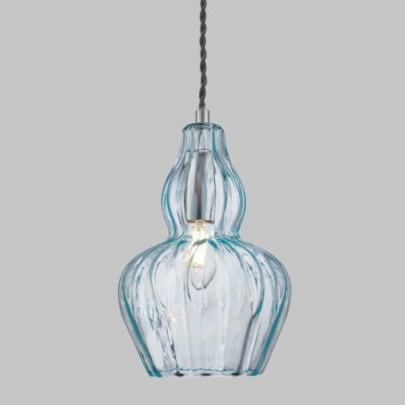 Подвесной светильник Maytoni Eustoma MOD238-PL-01-BL, 1xE14x40W, никель, голубой, металл, стекло - миниатюра 4