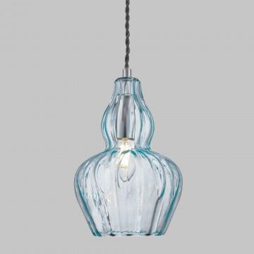 Подвесной светильник Maytoni Eustoma MOD238-PL-01-BL, 1xE14x40W, никель, голубой, металл, стекло - миниатюра 7