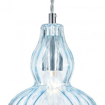 Подвесной светильник Maytoni Eustoma MOD238-PL-01-BL, 1xE14x40W, никель, голубой, металл, стекло - миниатюра 9