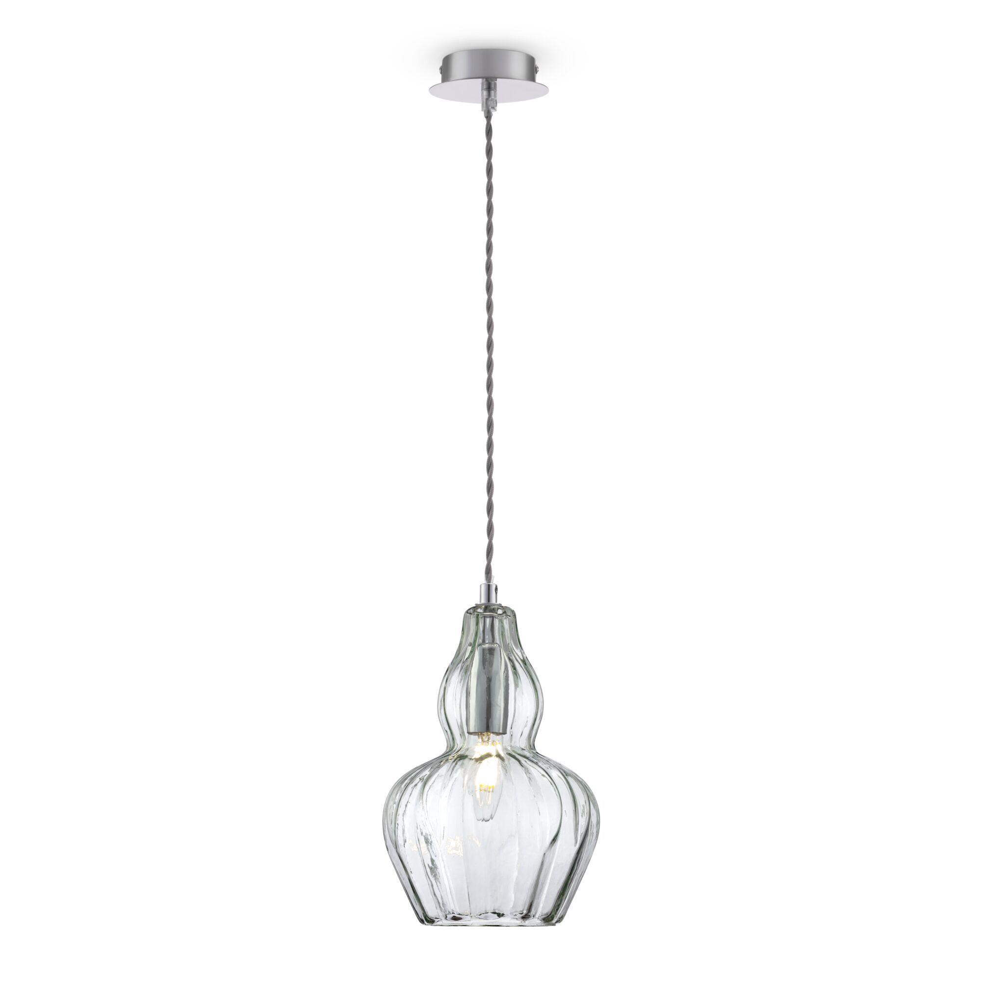 Подвесной светильник Maytoni Eustoma MOD238-PL-01-GN, 1xE14x40W, никель, зеленый, металл, стекло - фото 1