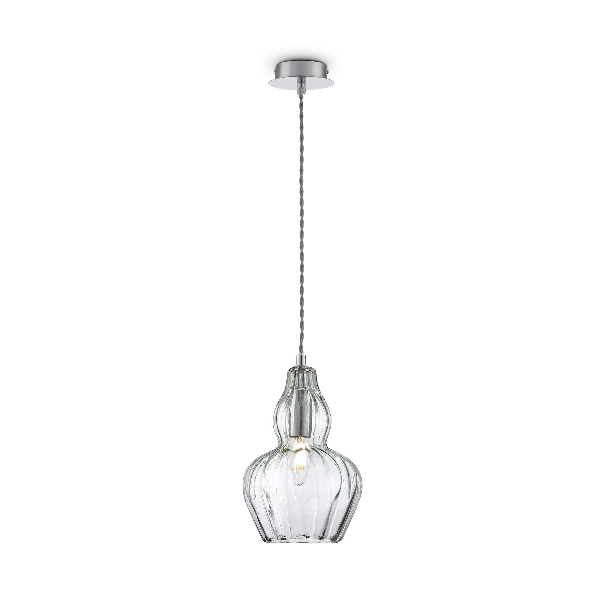 Подвесной светильник Maytoni Eustoma MOD238-PL-01-GN, 1xE14x40W, никель, зеленый, металл, стекло - фото 2