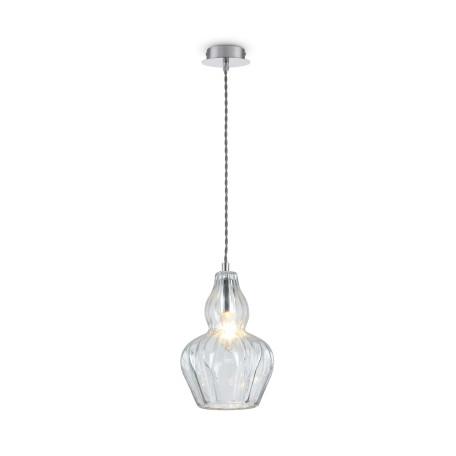 Подвесной светильник Maytoni Eustoma MOD238-PL-01-TR, 1xE14x40W, никель, прозрачный, металл, стекло