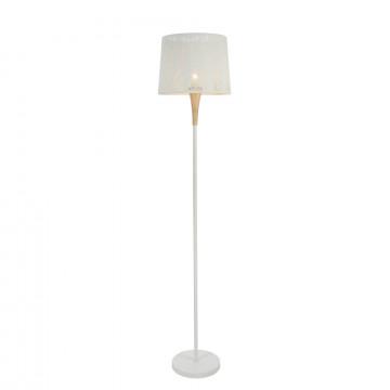Торшер Maytoni Lantern MOD029-FL-01-W (f029-fl-01-w), 1xE27x40W, белый, коричневый, дерево, металл