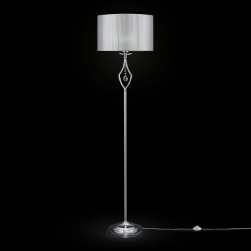 Торшер Maytoni Miraggio MOD602-FL-01-N, 1xE27x40W, хром, белый, прозрачный, металл со стеклом, текстиль, стекло
