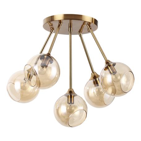 Потолочная люстра Lumion Willow 4460/5C, 5xE14x60W, матовое золото, янтарь, металл, стекло