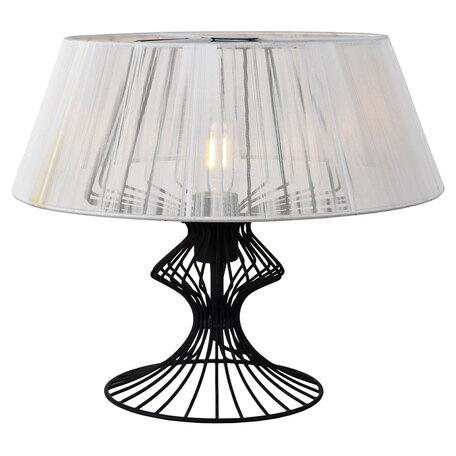 Настольная лампа Lussole Loft Cameron LSP-0528, IP21, 1xE27x40W, черный, белый, металл, текстиль
