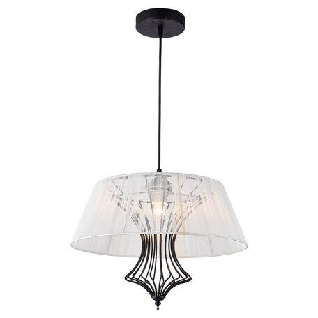 Подвесной светильник Lussole Loft Cameron LSP-8108, IP21, 1xE27x40W, черный, белый, металл, текстиль