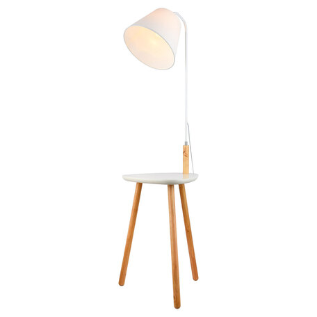 Торшер со столиком Lussole LGO Wrangell LSP-0522, IP21, 1xE27x40W, коричневый, белый, металл, дерево, текстиль