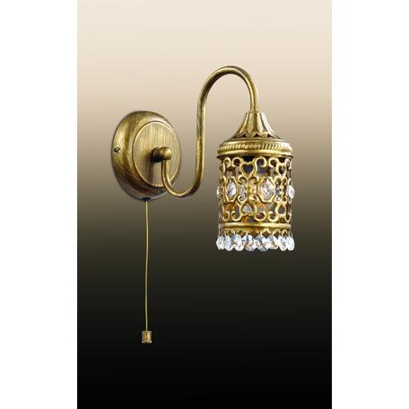 Бра Odeon Light Country Salona 2641/1W, 1xE14x40W, бронза, прозрачный, металл, металл с хрусталем, хрусталь