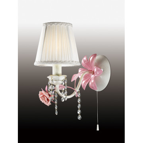 Бра Odeon Light Padma 2685/1W, 1xE14x60W, белый, прозрачный, розовый, керамика, металл, текстиль, хрусталь