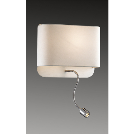 Бра с дополнительной подсветкой Odeon Light Bostri 2589/2W, 1xE27x60W, хром, коричневый, металл, текстиль