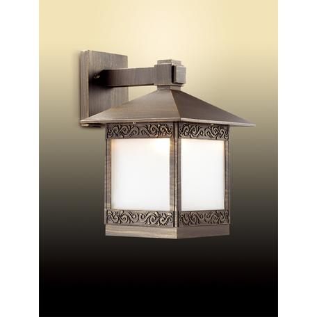 Настенный фонарь Odeon Light Novara 2644/1W, IP44, 1xE27x60W, коричневый с золотой патиной, белый, металл, стекло
