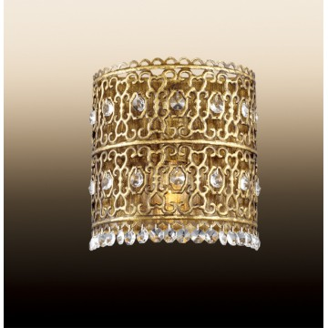 Настенный светильник Odeon Light Salona 2641/1WB, 1xE14x40W, бронза, прозрачный, металл, хрусталь