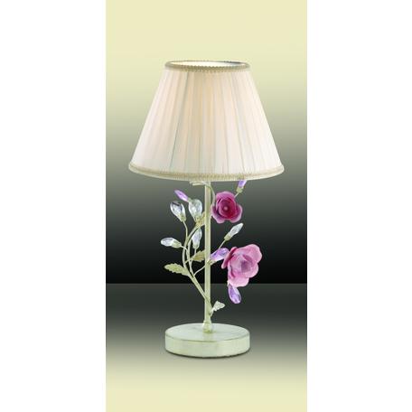 Настольная лампа Odeon Light Country Oxonia 2585/1T, 1xE27x40W, бежевый с золотой патиной, розовый, бежевый, металл с хрусталем, текстиль