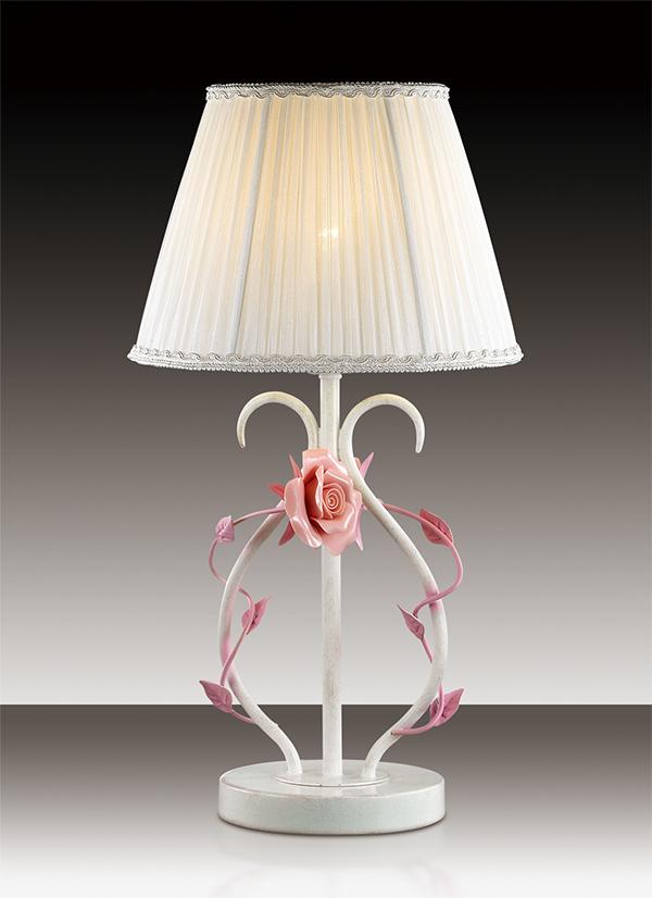 Настольная лампа Odeon Light Padma 2685/1T, 1xE14x60W, белый, розовый, керамика, металл, текстиль - фото 1
