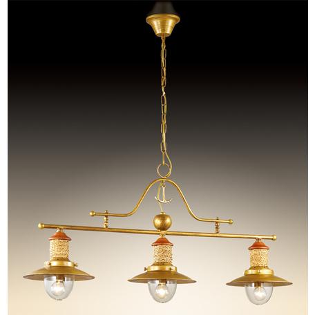 Подвесной светильник Odeon Light Tarsu 2617/3A, 3xE14x40W, бронза, коричневый, бежевый, прозрачный, дерево, металл, текстиль, стекло