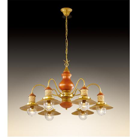 Подвесная люстра Odeon Light Tarsu 2617/6, 6xE14x40W, бронза, коричневый, бежевый, прозрачный, дерево, металл, текстиль, стекло - миниатюра 1