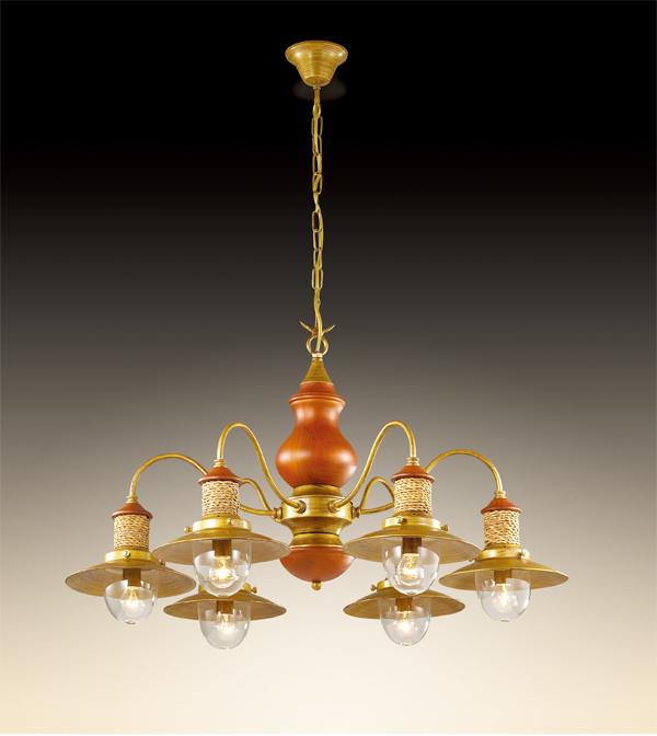 Подвесная люстра Odeon Light Tarsu 2617/6, 6xE14x40W, бронза, коричневый, бежевый, прозрачный, дерево, металл, текстиль, стекло - фото 1
