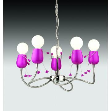 Подвесная люстра Odeon Light Rika Girl 2583/5, 5xE27x40W, розовый, хром, металл