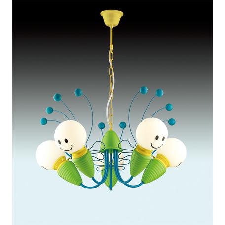 Подвесная люстра Odeon Light Kids Trolo 2633/5, 5xE14x40W, разноцветный, зеленый, синий, белый, металл, стекло