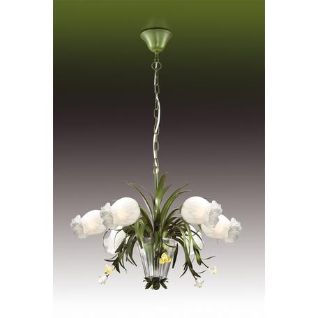 Подвесная люстра Odeon Light Merida 2652/6, 6xE14x40W, зеленый, белый, металл, керамика, стекло