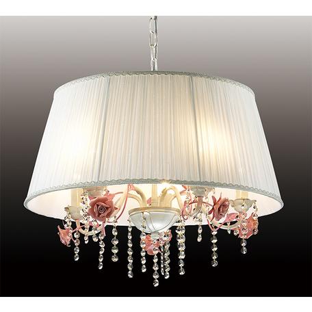 Подвесная люстра Odeon Light Padma 2685/5, 5xE27x60W, белый, прозрачный, розовый, керамика, металл, текстиль, хрусталь