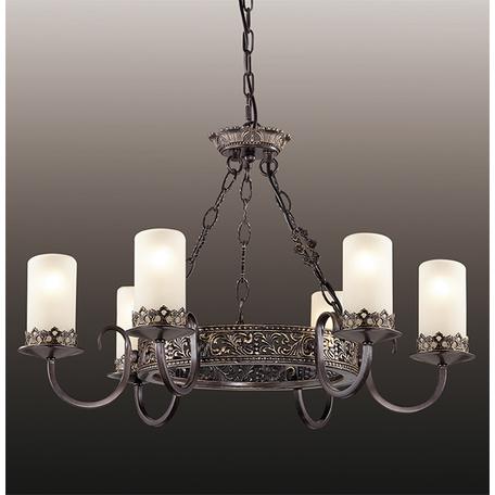 Подвесная люстра Odeon Light Country Mela 2690/6, 6xE14x60W, коричневый, белый, металл, стекло