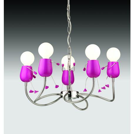 Подвесная люстра с регулировкой направления света Odeon Light Rika Girl 2583/5, 5xE27x40W, розовый, металл - миниатюра 1