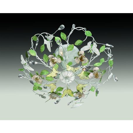 Потолочная люстра Odeon Light Country Arelata 2584/3, 3xE14x40W, белый, розовый, зеленый, разноцветный, металл, металл с хрусталем