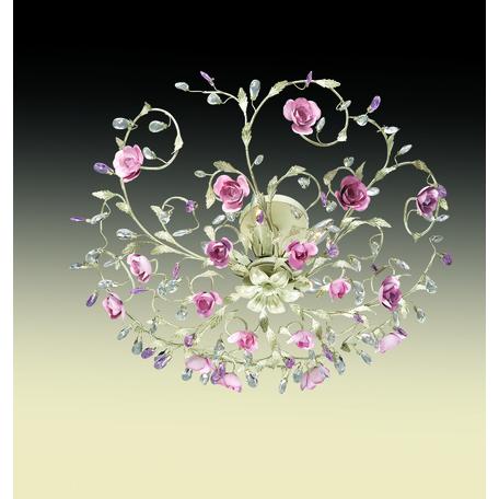 Потолочная люстра Odeon Light Country Oxonia 2585/5, 5xE14x40W, бежевый, розовый с бежевым, металл, металл с хрусталем