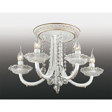 Потолочная люстра Odeon Light Barra 2698/5C, 5xE14x60W, белый, золото, прозрачный, металл, хрусталь