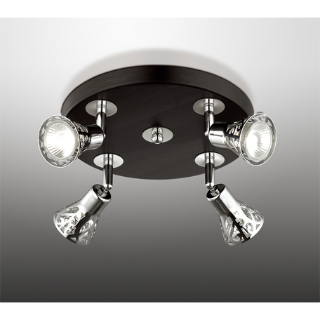 Потолочная люстра с регулировкой направления света Odeon Light Bierzo 2612/4C, 4xGU10x50W, венге, хром, металл - миниатюра 1
