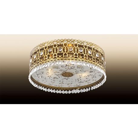 Потолочный светильник Odeon Light Salona 2641/3C, 3xE14x40W, бронза, матовый, прозрачный, металл, хрусталь, стекло