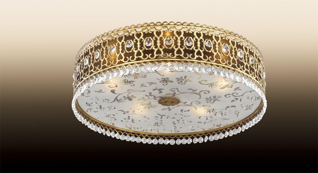 Потолочный светильник Odeon Light Salona 2641/5C, 5xE14x40W, бронза, прозрачный, металл со стеклом/хрусталем, стекло, хрусталь - фото 1