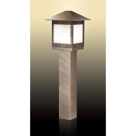 Садово-парковый светильник Odeon Light Classic Novara 2644/1A, IP44, 1xE27x60W, коричневый с золотой патиной, белый, металл, металл со стеклом