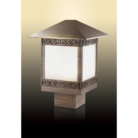 Садово-парковый светильник Odeon Light Novara 2644/1B, IP44, 1xE27x60W, коричневый с золотой патиной, белый, металл, стекло
